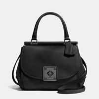 Coach Drifter Top Handle Satchel In Mixed Leather Matte Black Black
