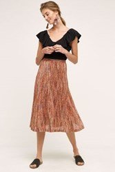 Maeve Wynne Knit Midi Skirt Red Red Motif