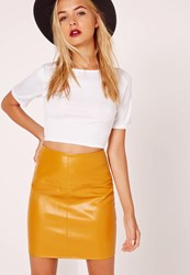 Missguided Faux Leather Mini Skirt Yellow Yellow