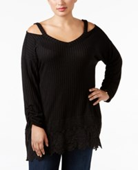Styleandco. Style Co. Plus Size Cold Shoulder Crochet Hem Top Only At Macy's Deep Black