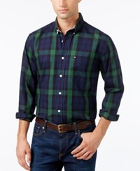 Tommy Hilfiger Men's Fulton Twill Plaid Shirt Peacoat