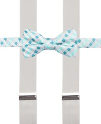 Alfani Spectrum Max Gingham Pre Tied Bow Tie And Suspender Set Only At Macy's Mint