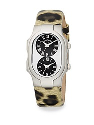 Philip Stein Teslar Signature Stainless Steel And Leopard Print Leather Dual Time Watch