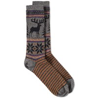 Anonymous Ism Deer Snow Jacquard Crew Sock Grey