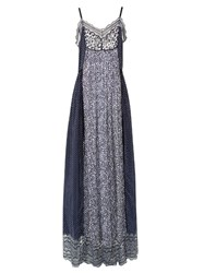 Chloe Contrast Print Lace Trim Georgette Maxi Dress Navy Print