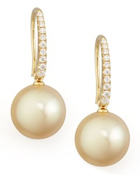 Golden South Sea Pearl And Diamond Drop Earrings Yellow Gold Eli Jewels