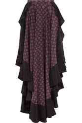 Lanvin Asymmetric Ruffled Printed Silk Maxi Skirt Navy