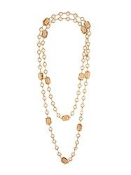 Chanel Vintage Gripoix Sautoir Necklace Yellow And Orange