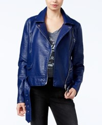William Rast Textured Faux Leather Moto Jacket Black