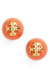 Women's Tory Burch 'Evie' Stud Earrings Coral Gold