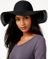 Nine West Perforated Floppy Felt Hat Black