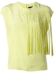 Marco Bologna Fringe Detail Boxy Top Yellow And Orange
