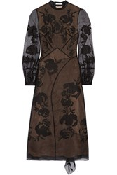 Erdem Brianna Embroidered Silk Blend Organza And Swiss Dot Tulle Dress Black