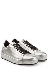 Jil Sander Metallic Leather Sneakers Silver