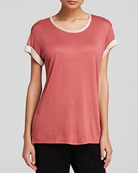 Vince Tee Rolled Sleeve Color Block Rosewood New Buff