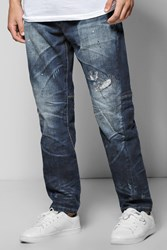 Boohoo Fit Destroyed Jeans Blue