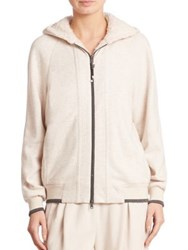 Brunello Cucinelli Cotton And Cashmere Zip Hoodie Vanilla