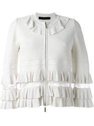 Elie Saab Frill Trim Jacket White