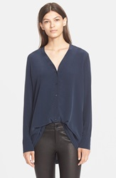 Vince Button Down V Neck Blouse Coastal Blue