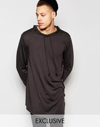 Cheap Monday Descent Angle Hem Hooded Long Sleeve Top In Distressed Black Overdye Overdye Black