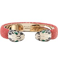 Bulgari Serpenti Forever 18Kt Gold Plated And Leather Bracelet Ruby Red
