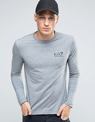 Emporio Armani Ea7 Long Sleeve Top With Chest Logo In Grey Grey