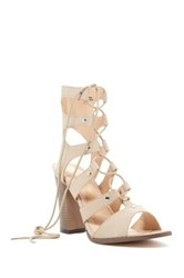 Chase And Chloe Benjamin Open Toe Lace Up Bootie Beige