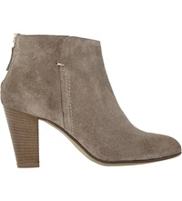 Dune Pharah Suede Back Zip Heeled Ankle Boots Mink Suede