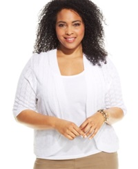 Ny Collection Plus Size Open Knit Cardigan White