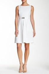 Tahari Sleeveless Diamond Jacquard Fit And Flare Dress White