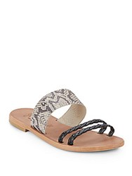 Joie A La Plage Diani Braided And Snake Embossed Leather Sandals Black