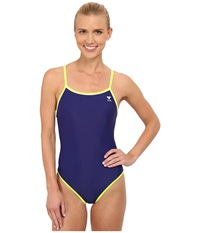 Tyr Solid Brites Reversible Diamondfit Navy Blue Yellow Women's Swimsuits One Piece Gray