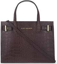 Kurt Geiger London Crocodile Embossed Leather Tote Wine