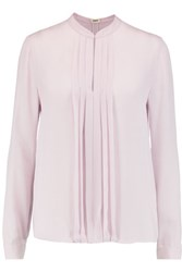 L'agence Lauren Pintucked Silk Georgette Blouse Lilac