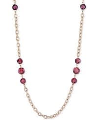 2028 Gold Tone Purple Bead Long Necklace