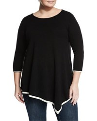 Neiman Marcus Cashmere 3 4 Sleeve Tunic Top Blk Ivory