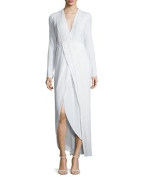 Galvan Long Sleeve Pleated Faux Wrap Dress White