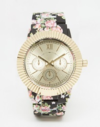 New Look Floral Painted Strap Watch Black