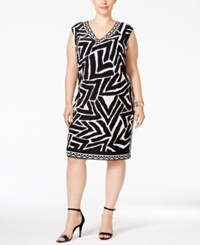 Inc International Concepts Plus Size Printed Sheath Dress Only At Macy's Deep Black