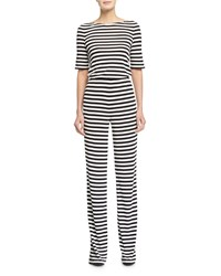 Diane Von Furstenberg Kendra Striped Jumpsuit Black White