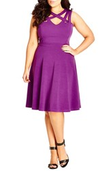 Plus Size Women's City Chic Strappy Skater Dress