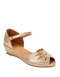 Gentle Souls Lily Moon Scalloped Peep Toe Demi Wedge Sandals Gold