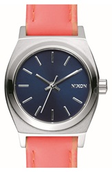 Nixon 'Small Time Teller' Leather Strap Watch 26Mm Bright Coral Navy Silver