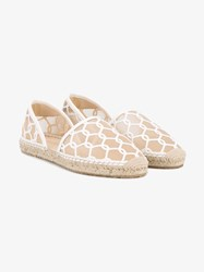 Jimmy Choo Dreya Embroidered Espadrilles White Beige