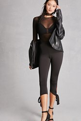 Forever 21 Self Tie Capri Leggings Black