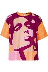 Raoul Printed Silk T Shirt Purple