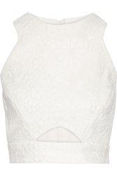 Badgley Mischka Cutout Lace Top White