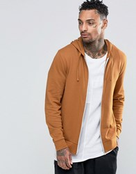 Asos Zip Up Hoodie In Tan Trinket Brown