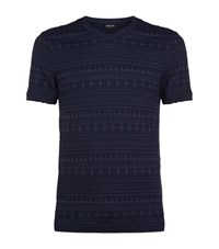 Giorgio Armani Aztec Woven Long Sleeve Seersucker T Shirt Male Blue
