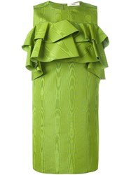Bally Ruffled Babydoll Dress Green